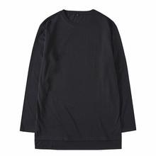 купить Autumn high street cotton men's long-sleeved t-shirt loose t-shirt shirt tide brand short short long slit bottoming shirt дешево