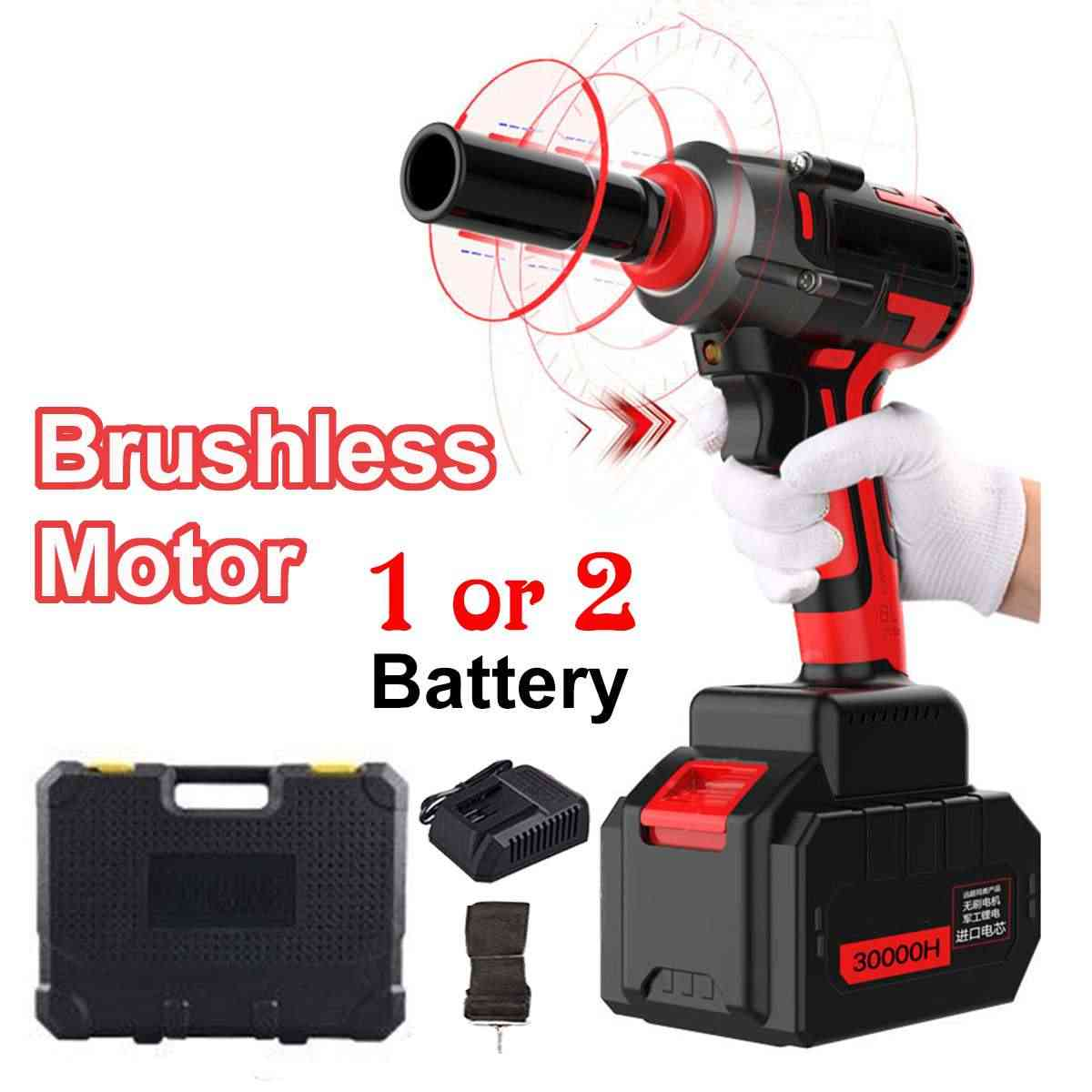 Brushless Electric Wrench Impact Socket Wrench 39800mAh Li Battery 500 N.m Torque Impact Wrench 220v Brushless Car Electric Tool