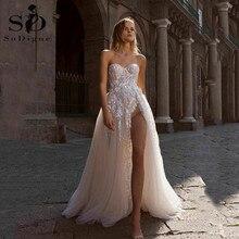 Sequins Wedding Dresses Sweetheart Lace Appliques A Line Boho Bridal Dress High Side Split Beach vestidos de novia