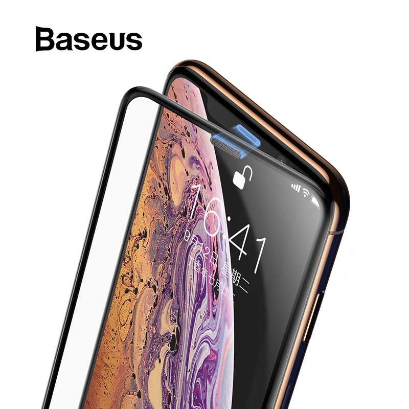 <font><b>Baseus</b></font> 3D Screen Protector For <font><b>iPhone</b></font> XR 0.3mm Ultra Thin Protective Glass For <font><b>iPhone</b></font> Xs X Xs Max 7 8 Tempered Glass Front Film image