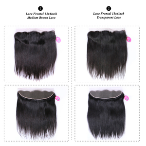 Image 5 - Queen Hair Products Brazilian Virgin Straight 13x4 Transparent Lace Frontal Closure 100% Human Hair Medium Brown Swiss Lace