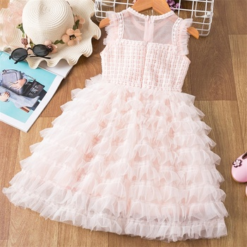 Kids Lace Flower Dress Baby Girl Clothes Mesh Children Princess Birthday Party Cake Tutu Kids Dresses for Girls Casual Wear gorgeous children girls black grey birthday celebration evening party flower princess lace dress kids model catwalk host dress