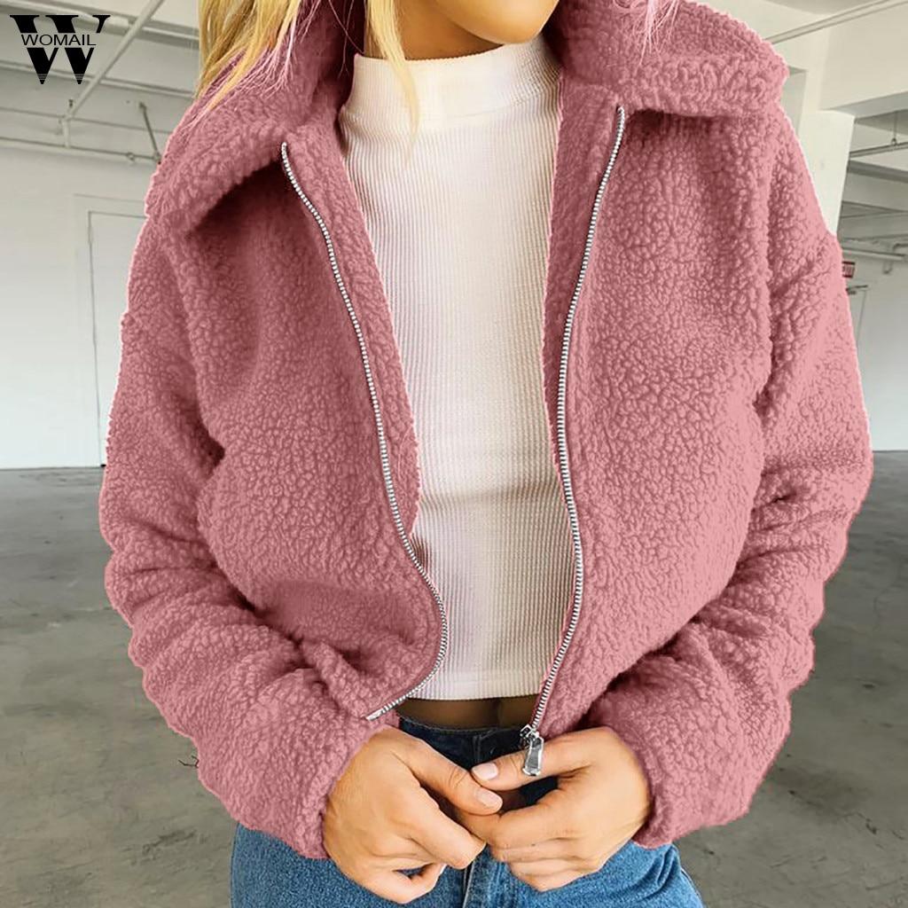 Женская флисовая куртка на молнии, однотонное теплое пальто из искусственного меха, Повседневная Верхняя одежда на осень и зиму, 815, 2019|Куртки|   | АлиЭкспресс