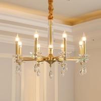 Nordic Living Room Square Crystal Chandelier Modern Bedroom lamp Dining Room led Light Luxury Copper Chandelier Ceiling Lighting
