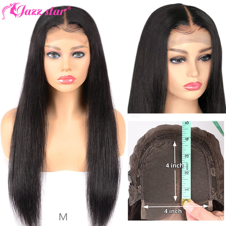 Lace Closure Wigs Human-Hair Jazz Star Black Women Brazilian Straight for Non-Remy 150%Density