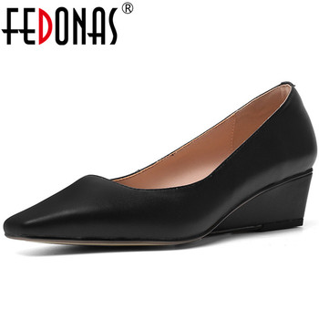FEDONAS 2020 Elegant Women Cow Leather Wedge Heels Pumps shallow Working Wedding Pointed Toe Shoes New Arrival Retro Shoes Woman