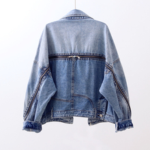 Spring and autumn 2019 new loose personality zipper long-sleeved denim jacket cheap Short 9999 STANDARD Single Breasted Casual Zippers COTTON Polyester Solid Turn-down Collar Full REGULAR