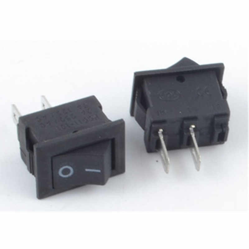 1/5 Buah/Banyak KCD1 15*10Mm 2PIN Perahu Rocker Switch SPST Snap-In Di Off Mikro beralih Posisi 3A/250V Mini Sesaat Push Button