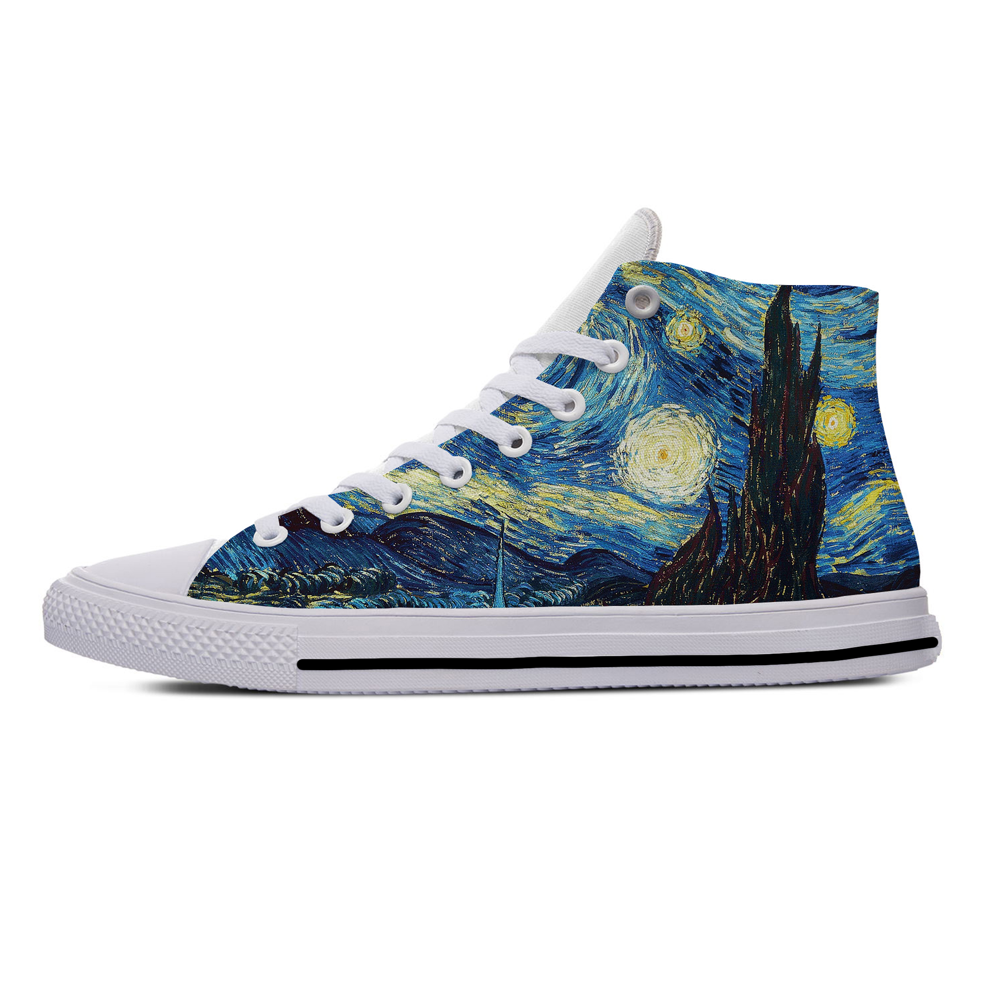 Vincent Van Gogh Oil Painting Aesthetic Funny Casual Canvas Shoes High Top Lightweight Breathable 3D Printed Men Women Sneakers