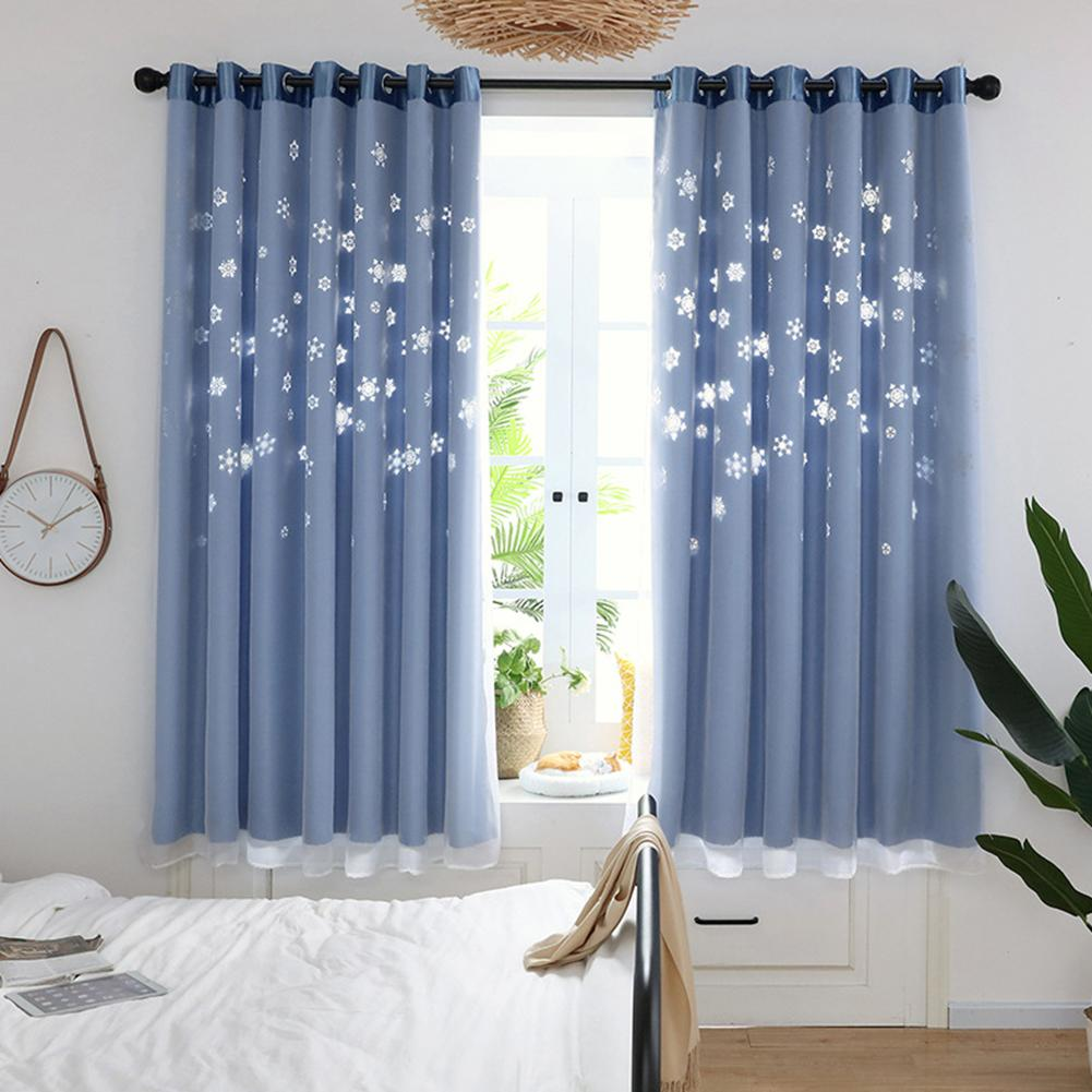 <font><b>100*200</b></font> Hollow Snowflake Design Curtains for Living Room Bedroom Sheer Curtains Window Curtain Drape Home Decoration Curtains image