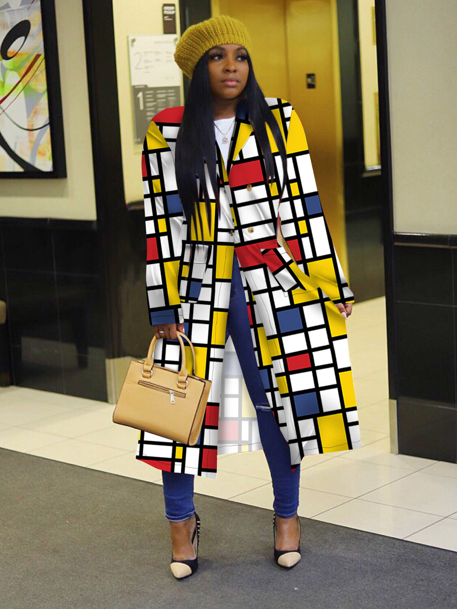 2020 nowy styl europejski i amerykański Standard rozmiar Plaid drukowanie podwójne-łuszcz Lapel płaszcz długi płaszcz damski płaszcz