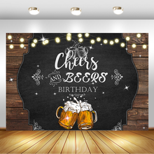 NeoBack Cheers and Beers Birthday Backdrop Happy Photo Background Glitter Lights Rustic Adutls Backdrops