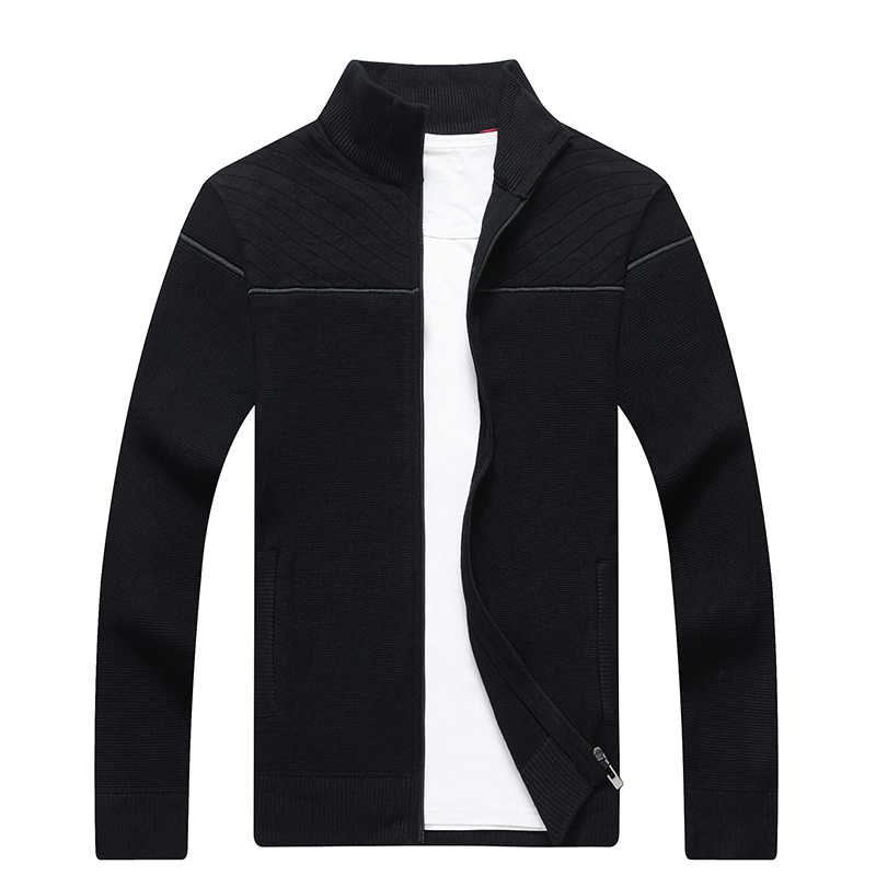Модный новый осенний мужской свитер с воротником-стойкой плотый вязаный кардиган мужской жаккардовый теплый вязаный кардиган Hombre