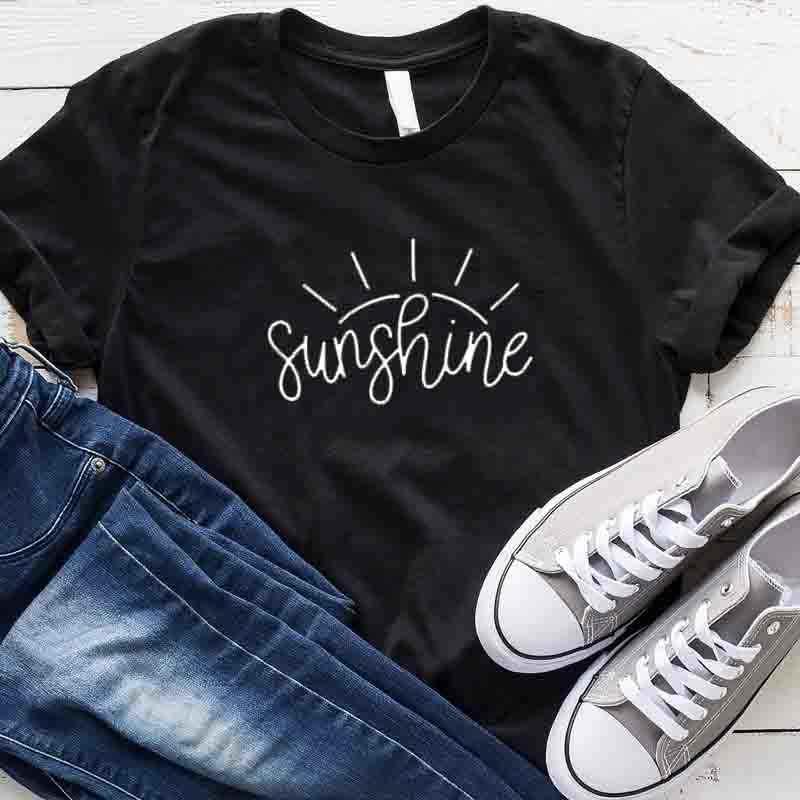 サンシャイングラフィック Tシャツ女性クリスチャンを参照してくださいライト Tシャツイエス信仰希望愛綿シャツカジュアルプラスサイズトップスドロップ船