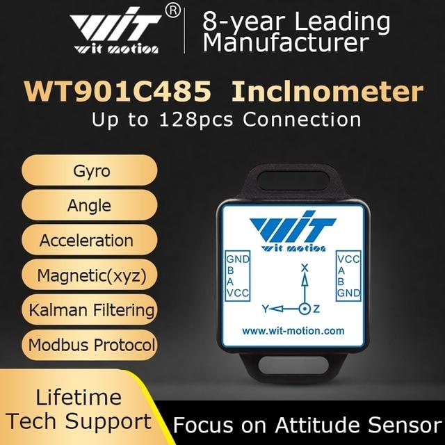 WitMotion WT901C485 גבוהה יציבות 9 ציר AHRS Inclinometer תאוצה + גירוסקופ + זווית + מגנט (XYZ), RS485 Modbus פרוטוקול
