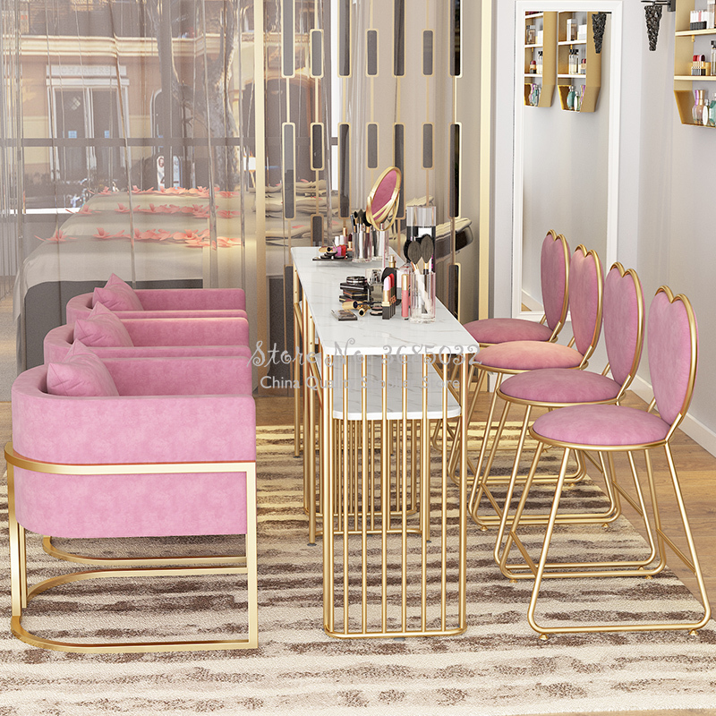 Nordic Marble Nail Tables & Chair Golden Leg Durable Single Manicure Desk And Sofa Particle Board Salon Furniture 0.8/1.0m Width