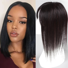 WEILAI 3 Piece Closure Toupee Straight Synthetic Protein Silk Hair Hand-made Natural Black Topper Hairpiece with Bang Hair Piece