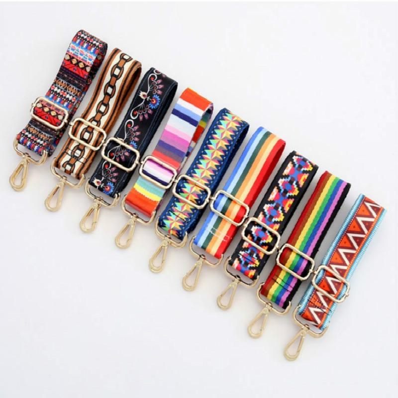 New Nylon Rainbow Adjustable Shoulder Belt Bag Handle Satchel Replacement Handbag Bag Strap Crossbody Shoulder Wallet Purse Obag