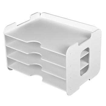 オフィスデスクトップアクセサリーオーガナイザーオーガナイザーと 3 用紙トレイデスクトップファイル棚収納 -