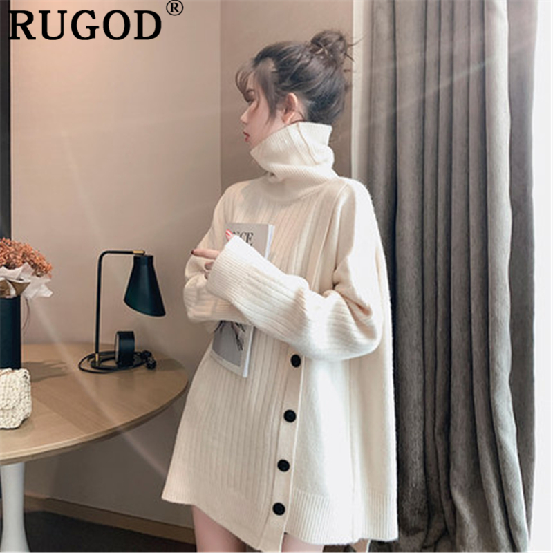 RUGOD Elegant Solid Women Sweater Fashion Button Thicken Winter Warm Knit Pullover Female 2019 Casual Loose Turtleneck Sweaters