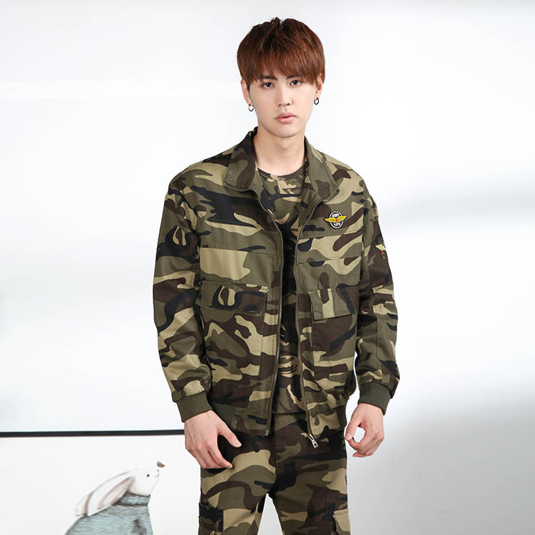 Sports Set Men's Spring And Autumn Pure Cotton Coat New Style Trousers Men Casual Households Coat-Solid Color Army Workwear