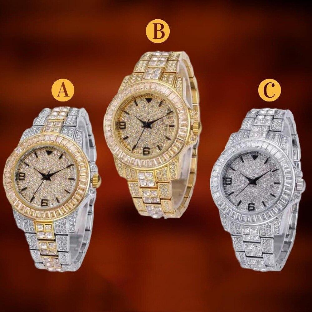 Iced para Fora Relógio de Quartzo Relógios de Pulso com Micro Topgrillz Baguette Ouro Pave cz Aço Inoxidável Pulseira Relógio Horas Hip Hop