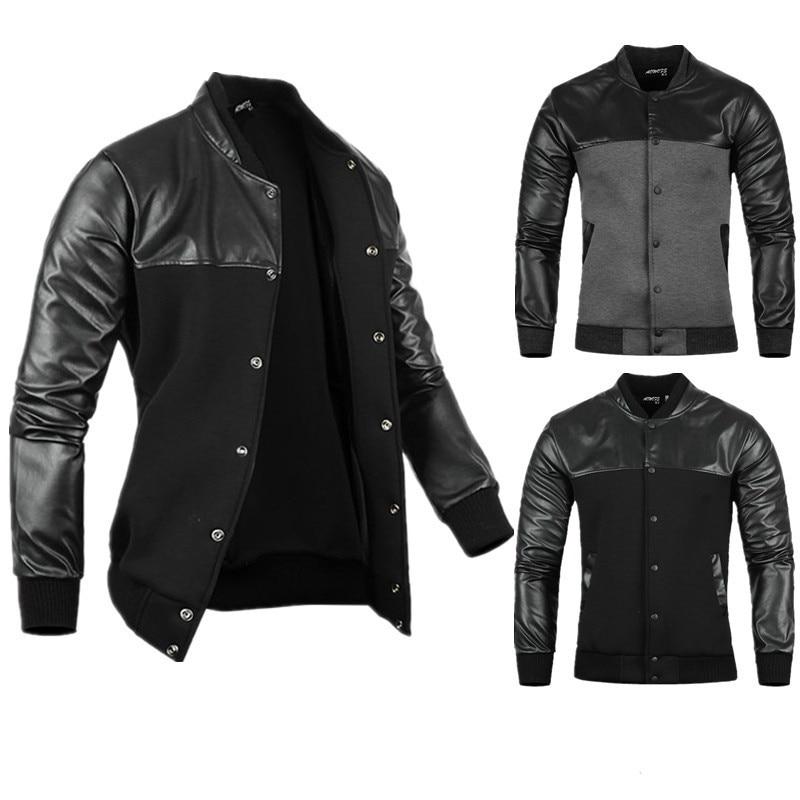 ZOGAA Man Jacket Autumn Mens PU Leather Stitching Black/Grey Leisure Jackets Skim Casual Outerwear and Coats 2019
