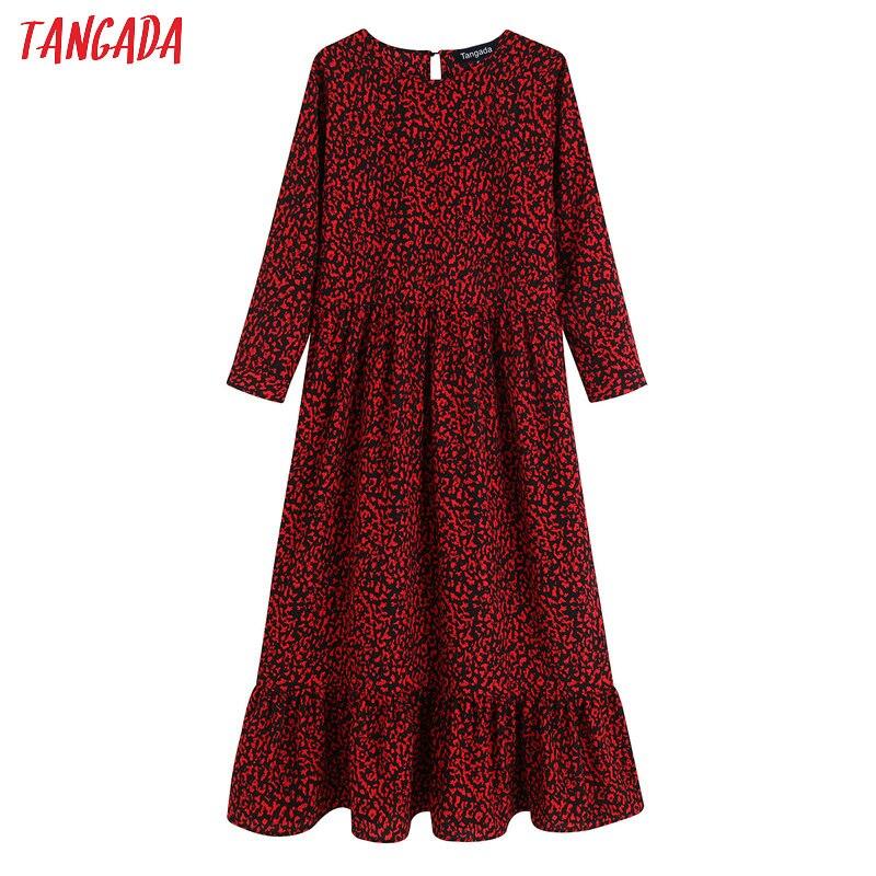 Tangada mode femmes léopard imprimé maxi robe o cou à manches longues rétro femme à volants longue robe vestidos BE09