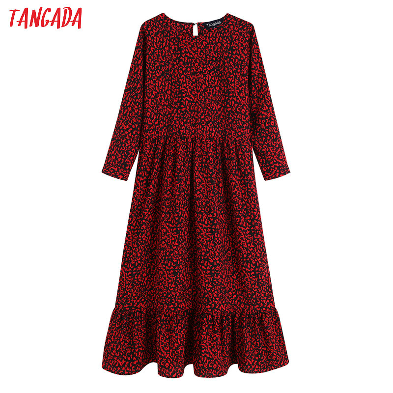 Tangada Fashion Women Leopard Printed Maxi Dress O Neck Long Sleeve Retro Female Ruffle Long Dress Vestidos BE09