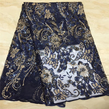 African Lake blue Lace Fabric With Sequins Nigerian French gold Lace Fabric High Quality Sequined Velvet For Wedding Dress