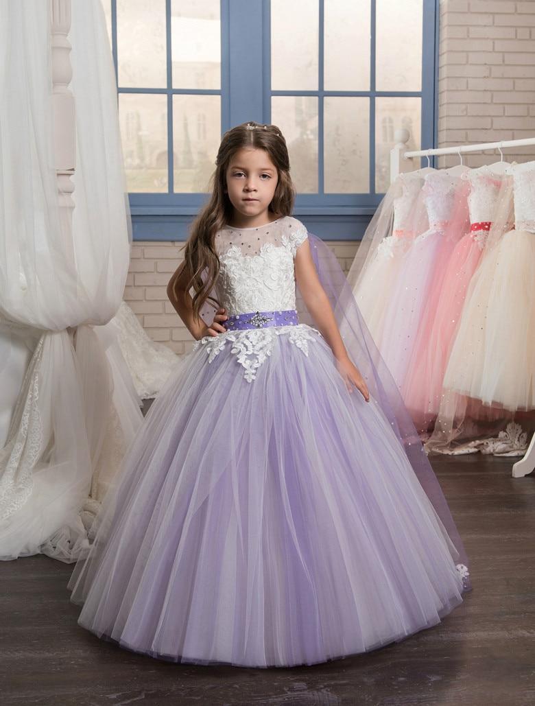Cap Sleeves 2019   Flower     Girl     Dresses   For Weddings Ball Gown Tulle Appliques Beaded Long First Communion   Dresses   Little   Girl