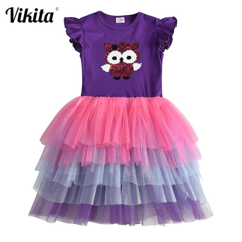VIKITA Girls Sequins Unicorn Dress Girl Kids Party Wear Dresses For Girls Princess Dress Children Summer Clothes Kids Vestidos 1