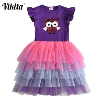VIKITA Girls Sequins Unicorn Dress Girl Kids Party Wear Dresses For Girls Princess Dress Children Summer Clothes Kids Vestidos [zob] 100