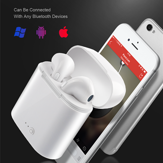 TWS i7 Bluetooth earphones music Headphones business headset sports earbuds suitable wireless Earpieces For xiaomi huawei iphone 1