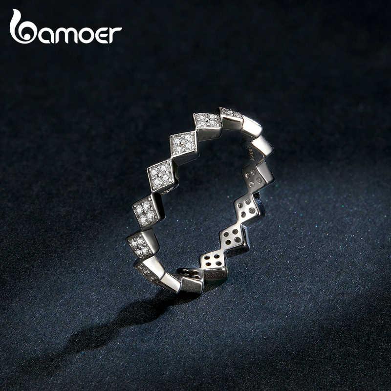 Bamoer Autentico 925 Sterling Silver Dazzling Geometrica Semplice Impilabile Anelli di Barretta per Le Donne Dichiarazione Dei Monili Anel BSR110