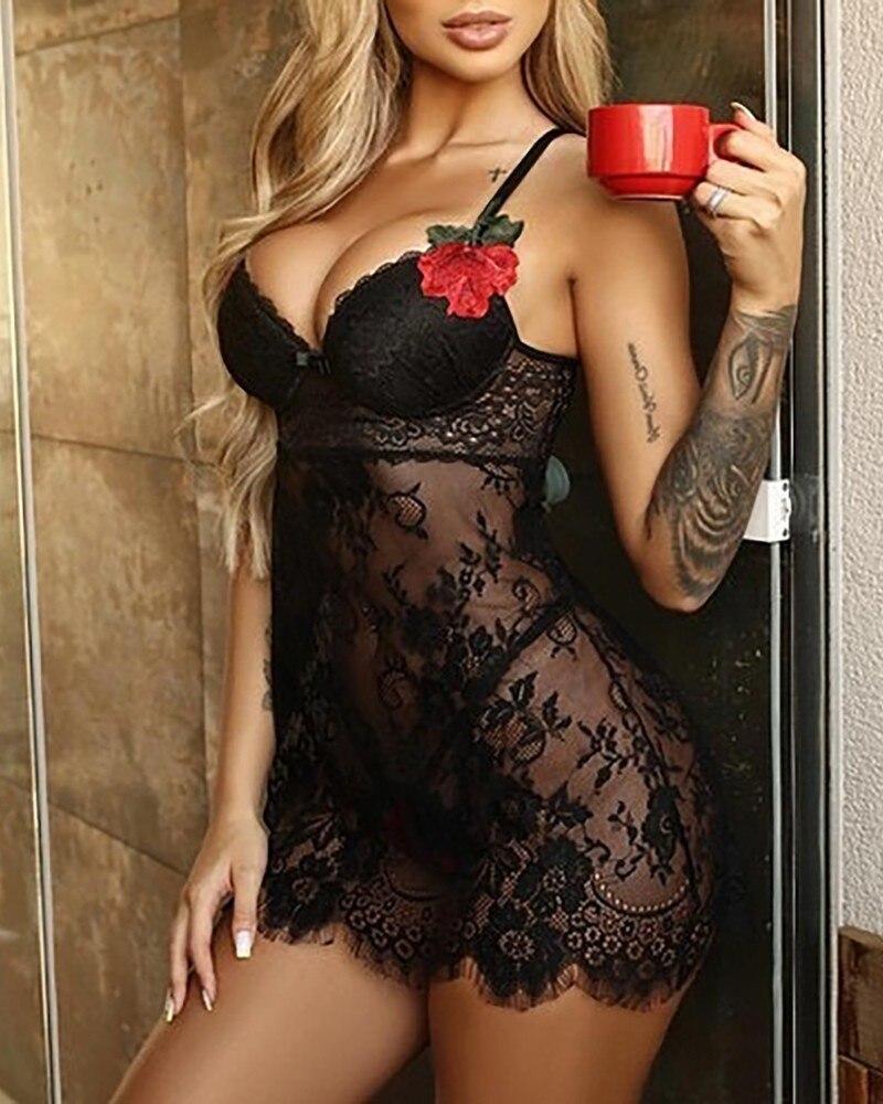 2021 Женщины сексуально пижамы летние сексуальные кружева Ночная рубашка шелковистая сорочка Нижнее белье с