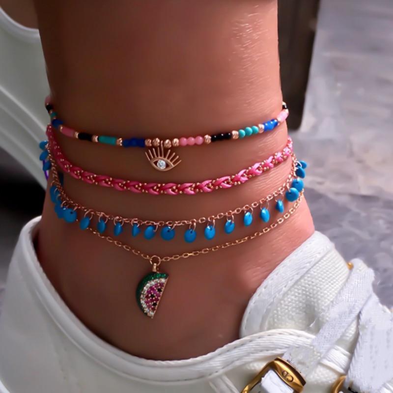 Docona Boho 4pcs/sets Colorful Beaded Anklets Summer Watermelon Eyes Pendant Rope Feet Bracelets Women Accessories 8369