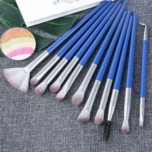 цена на Professional 12 Pcs Makeup Brushes Set Eye Shadow Eyeliner Eyelash Eyebrow Brush For Makeup Tool