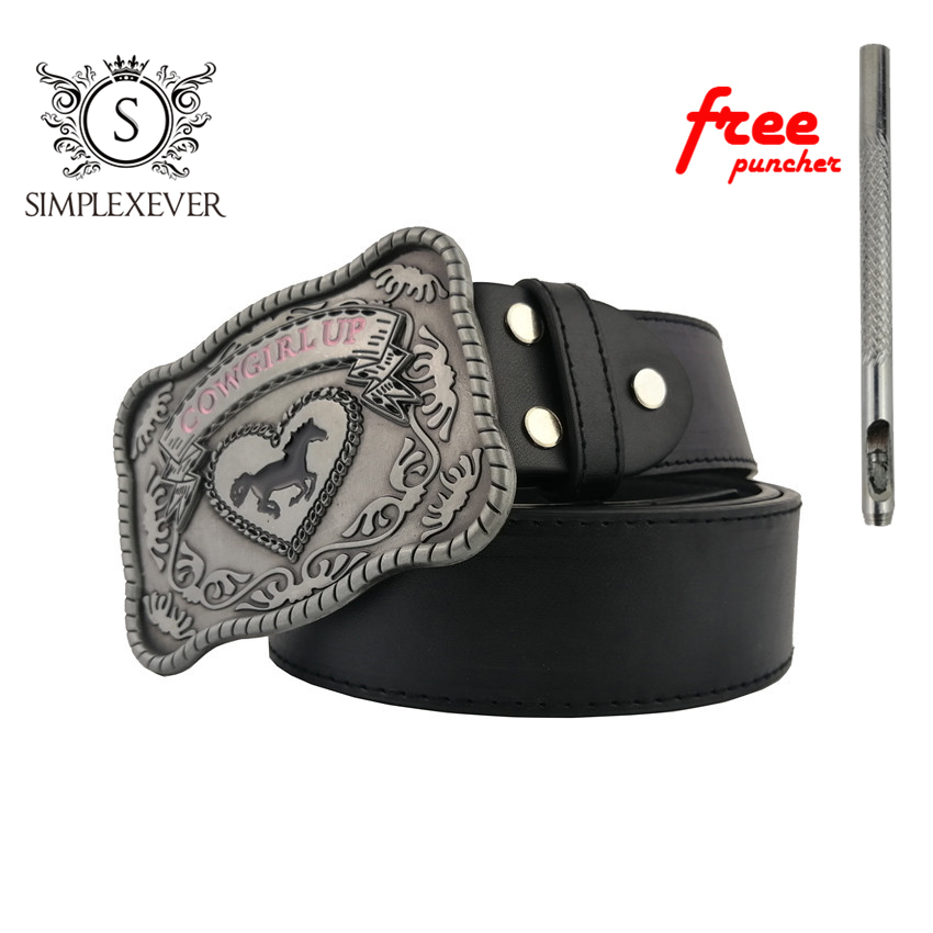 Belts With Cowgirl Up Mens Belt Buckle Silver Plating Horse Metal Belt Buckle Men's Birthday Gifts Dropshipping