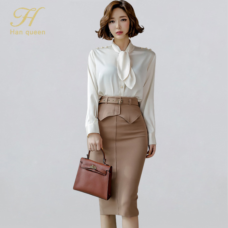 H Han Queen Women 2020 Spring Sexy OL Work  2 Pieces Set Lace Up Chiffon Blouses & Sheath Pencil Skirt Office Lady Skirts Suits