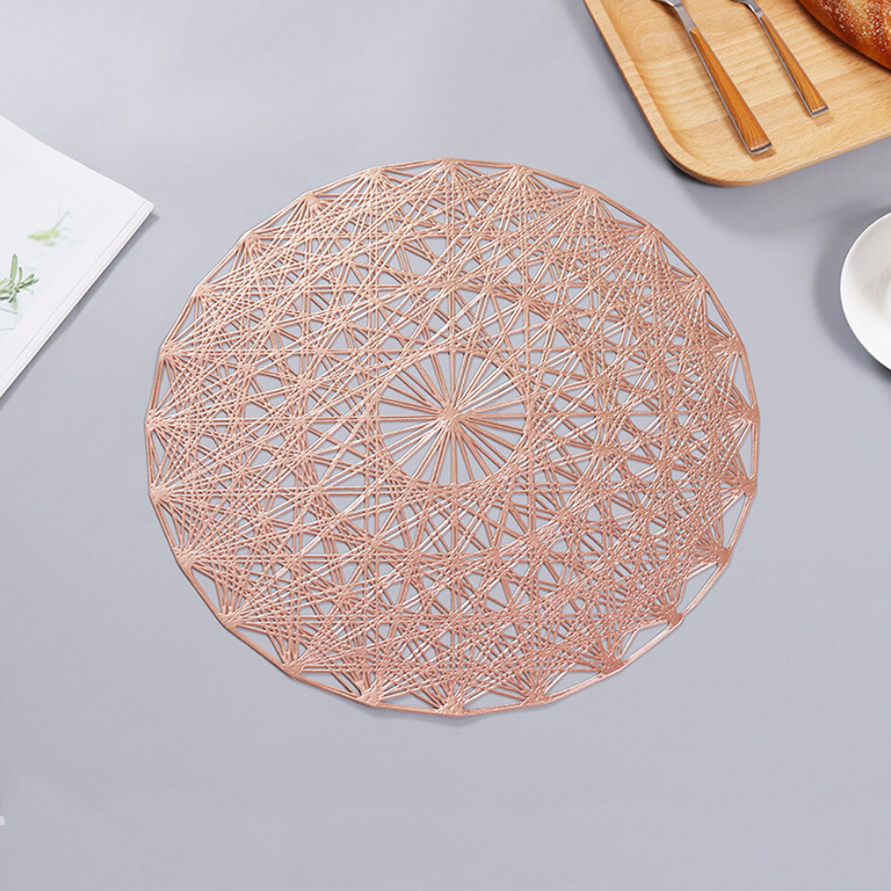 Big Offer B360 2019 38cm Gold Silvery Round Placemats Kitchen