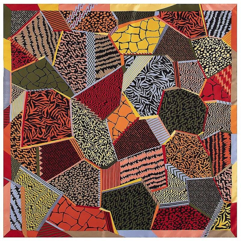 130*130cm Twill Silk Scarf Geometric Rhombus Print Lady Scarf Turban Shawl Large Square Scarf Shawls And Wraps