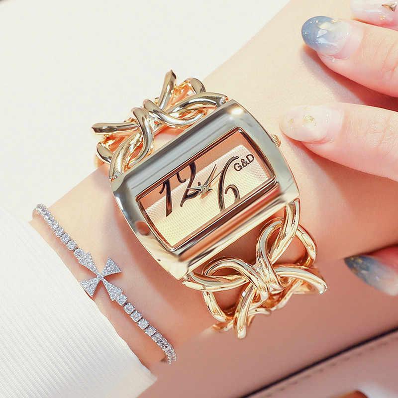 G & D Perak Jam Tangan Wanita Merek Mewah Gelang Watch Wanita Fashion Persegi Panjang Wanita QUARTZ Jam Tangan Clock Relogio Feminino