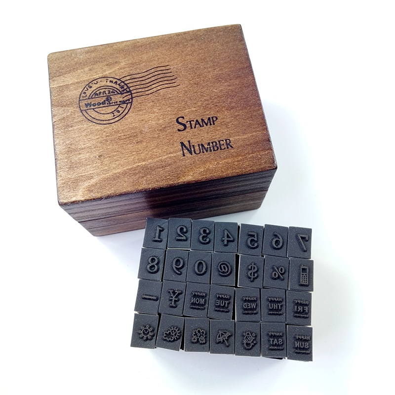 28pcs/set Digital Weather Mood Stamp Set Dairy Stamp Wooden Box Gift Decorate Card