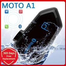 MotoA1 IPX6กันน้ำ Boomless ไมโครโฟนการตัดเสียงรบกวน V4.1หมวกนิรภัยรถจักรยานยนต์ Bluetooth Communicator Voice Prompt ชุดหูฟัง BT