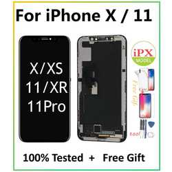 Pantalla LCD For iPhone X 11 LCD OLED Display Screen Digitizer Assembly Replacement Display For iPhoneX iPhone11 LCD with Gift