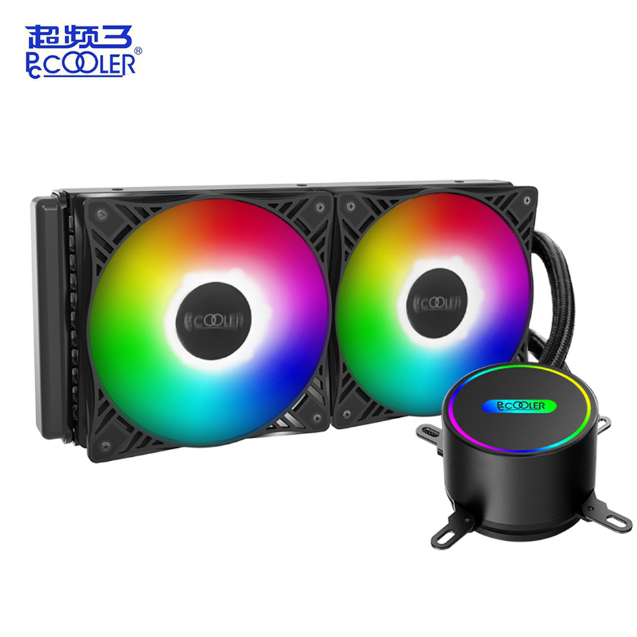 Pccooler 120 240vc Cpu Water Cooling Radiator Led 4pin Silent Fan Led Intelligent Control For Amd Am4 Am3 Intel 2011 2066 115x Fans Cooling Aliexpress