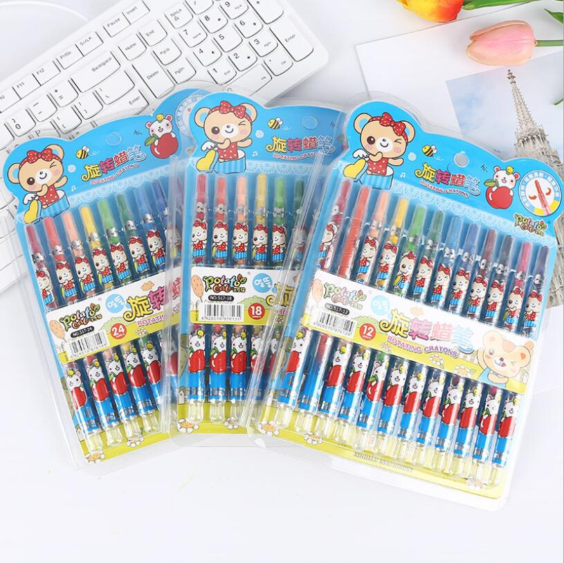 24 Classic Color Non Toxic And Flawless Crayon Silk Smooth Washable Rotating Crayon Children School Supplies Color Pencil