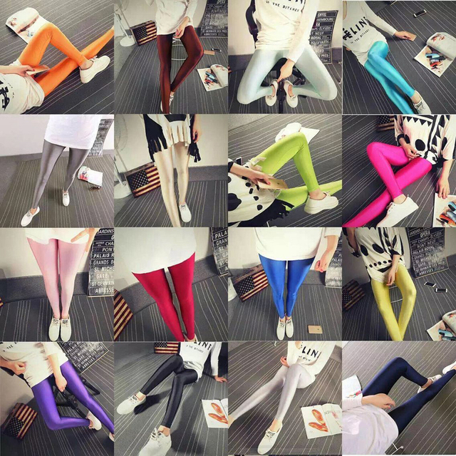 2020 Satin Glossy Pantyhose Sexy Stockings Shiny Yoga pants leggings sport tights women fitness Casual Trousers Shinny Legging 2