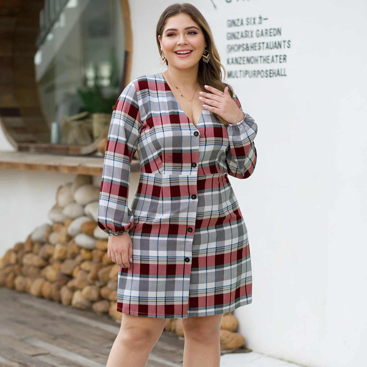 Joinelse клетчатое лоскутное женское Повседневное платье осень v-образный вырез с длинными рукавами женские мини платья с пуговицами плюс размер рубашки Vestidos